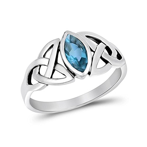 Sterling Silver Simulated Blue Topaz Celtic Design Ring, 9mm Choose Your Color by Glitzs Jewels (Image #5)