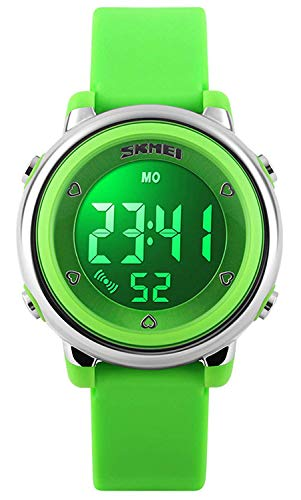 - Bo Yi Kids LED Digital Unusual Electrical Luminescent Silicone Outdoor Sport Waterproof Alarm Children Dress Wrist Watch with Stopwatch for Boys Girls (Green)