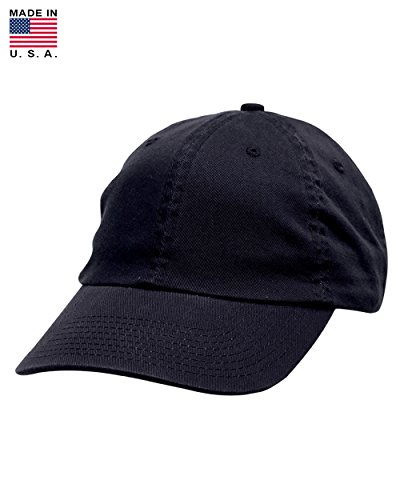 Made In USA Soft Crown Washed 100% Cotton Chino Twill Baseball Cap - Black (Cotton Chino Twill Cap)