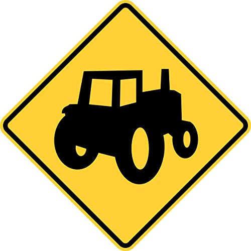 Traffic Signs - Alternative Tractor/Farm Vehicle Crossing Sign (MUTCD) 12 x 18 Aluminum Sign Street Weather Approved Sign 0.04 Thickness