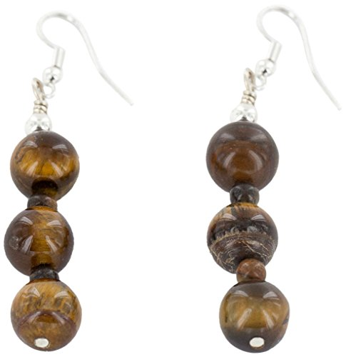 Native-Bay Authentic Silver Hooks Made by Charlene Little Navajo Hook Natural Tigers Eye American Earrings