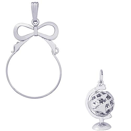 (Rembrandt Charms Globe with Stand Charm on a Rembrandt Charms Bow Charm Holder)