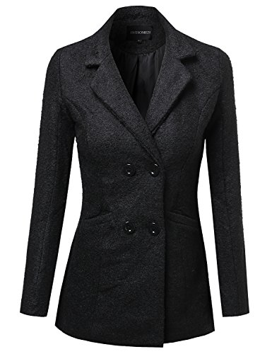 Boucle yarn Classic Double Breasted Coat Black Size L