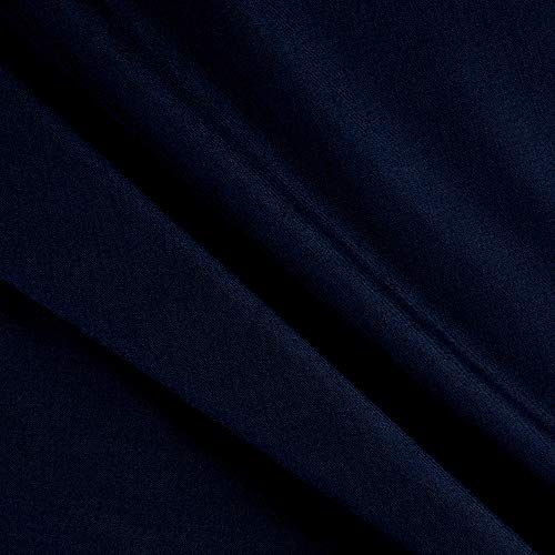 (Tuva Textiles Wool Blend Suiting Solid Gabardine Medium Blue Fabric Fabric by the Yard)