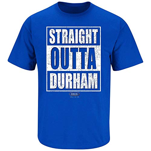 Fan Duke - Smack Apparel Duke Basketball Fans. Straight Outta Durham Royal Blue T Shirt (Sm-5X) (Short Sleeve, 4XL)