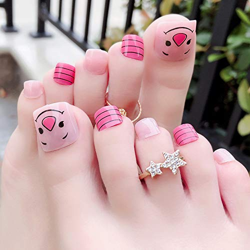24pcs 12 Sizes False Fake Nail for Toenail Chic Nail French Style Cartoon Expression Smiley Face Red Flower Decorated Bridal Wedding Short Square Full Cover with designs - 2Pack