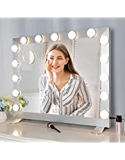 Vanity Mirror Makeup Mirror with Lights, Large Hollywood Lighted Vanity Mirror, 3 Color Lights and Adjustable Brightness, Tabletop or Wall-Mounted, Silver