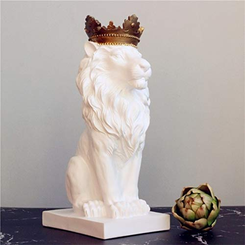 ZAMTAC New Creative Modern Gold Crown Black Lion Statue Aanimal Figurine Sculpture for Home Decorations Attic Ornaments Gifts - (Color: White)