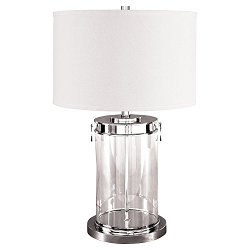 Metro Modern Table Lamp - Ashley Furniture Signature Design - Tailynn Glass Cylindrical Table Lamp with Drum Shade - Contemporary - Clear/Silver Finish