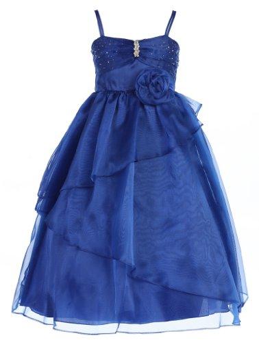 Wonder Girl Samy Big Girls' Organza Tea Length Brooch Dress 16 Royal Blue