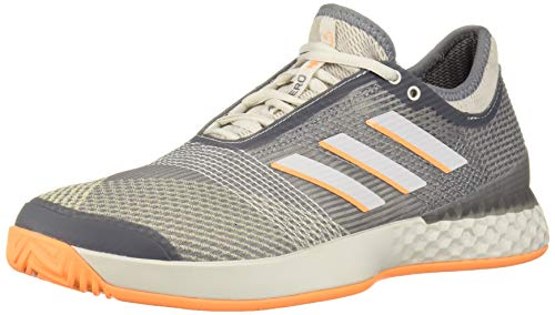 adidas Men's Adizero Ubersonic 3 Tennis Shoe, Grey/Grey/Flash Orange, 9.5 M US