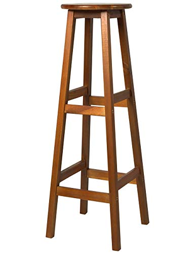 XPHZHJ- Barstools Stool Solid Wood Bar Stool with Footstool Round Counter Cafe Kitchen Breakfast Bar and Greenhouse Teak Color 34 X 34 X 76cm +
