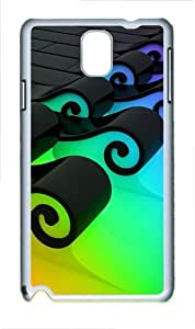 3D Colorful Waves Polycarbonate Hard Case Cover for Samsung Galaxy Note III/ Note 3 / N9000 White