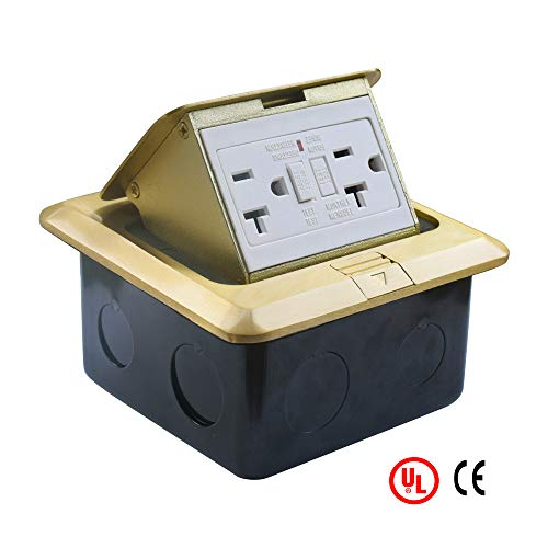 PetSply UL Listed Pop Up Electrical Floor Outlet Cover Box 20 Amp 125V with GFCI Stainless Steel Cast-iron Junction Boxes Brass Covers Square