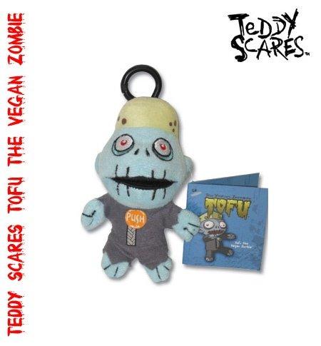Teddy Scares Tofu the Vegan Zombie Keychain
