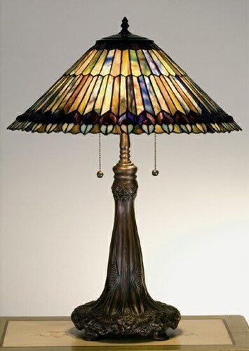 Tiffany Jeweled Peacock Table Lamp
