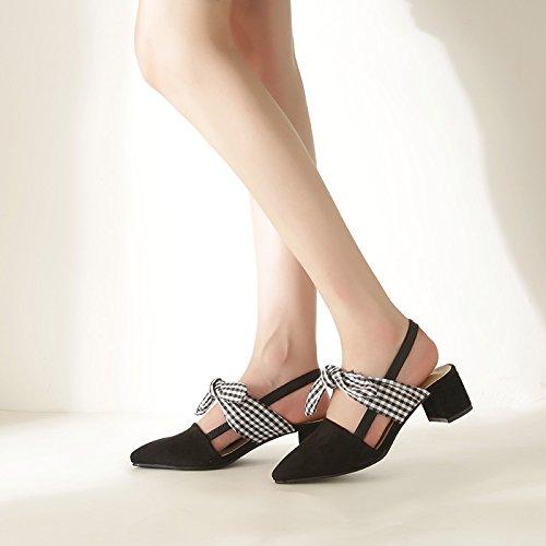 Sandales Femme Sandales Baotou Avec Sandales D'Épaisseur Astuce Femelle Noires Heels High EU37 Noeud Et SHOESHAOGE Papillon TqSXw