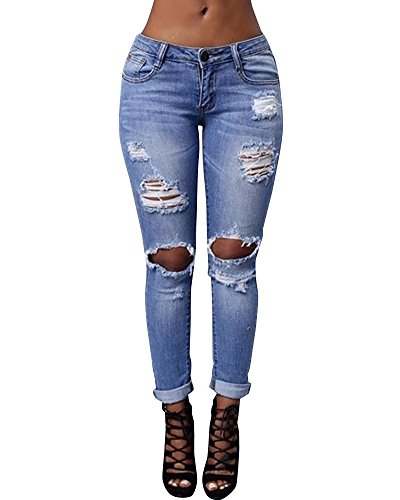 Dchirs Slim Boyfriend Skinny Bleu Femme Trous Pants Crayon Jeans ZhuiKun Clair Pantalons Denim HFqCwq