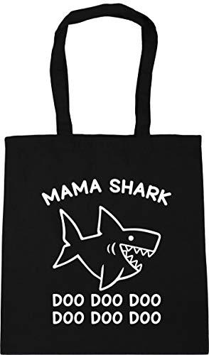 HippoWarehouse Mama shark doo doo doo doo doo dooTote Shopping Gym Beach Bag 42cm x38cm, 10 litres Black