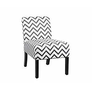 Modern Fabric Upholstery Armless Accent Chair w/ Pine Wood Legs for Kitchen Dining Living Room, Striped Pattern