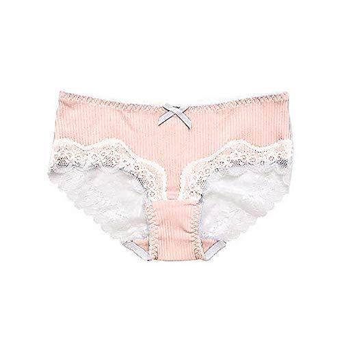 Women's Cotton Lace Underwear Briefs Soft Hipster Panties Comfort Bikini Underwear for Ladies Plus Size Pink
