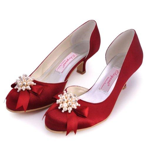 ElegantPark 100114 Mujer Punta Rotonda Baile Perla Rhinestones Arcos Mini Tacón Satén Fiesta Zapatos de Boda Vino Rojo