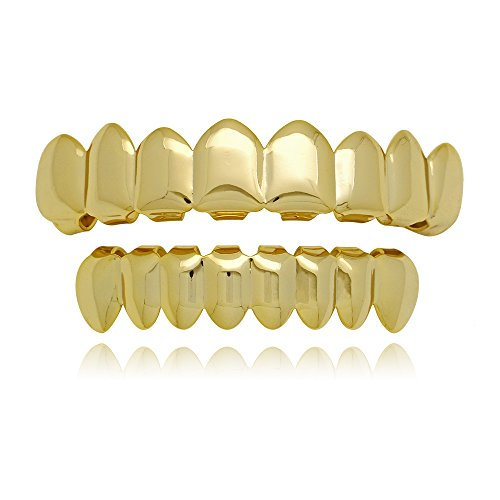 Lureen Universal 14k Gold Shiny Hip Hop Teeth Grillz 8 Top and 8 Bottom Grills Set (Gold)