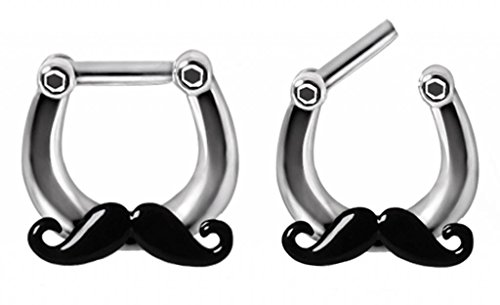 Cool Mischief Black Mustache Septum Clicker Nose Ring Hoop Stainless Surgical Steel body Jewelry piercing bar 14g