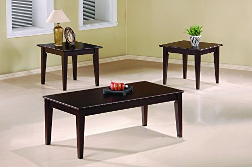 Coaster 3-Piece Occasional Table Set with Tapered Legs, Cappuccino