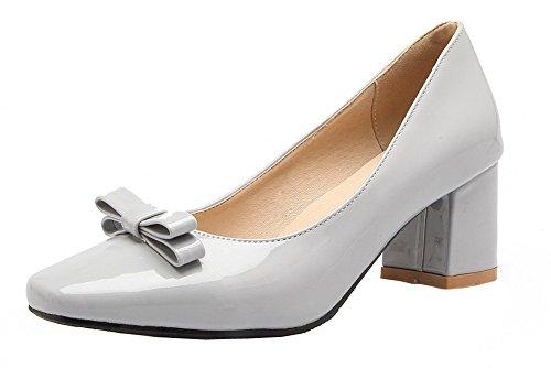 Amoonyfashion Donna Tacco Largo In Vernice Martellata Tacco A Spillo Scarpe-scarpe Grigie
