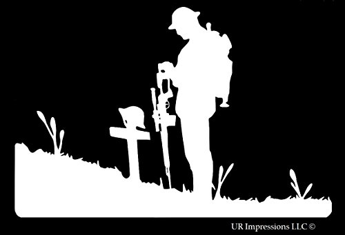 Fallen Womens Costumes (Fallen Soldier Decal Vinyl Sticker|Cars Trucks Walls Laptop|WHITE|6.5 X 4.3 In|URI329)