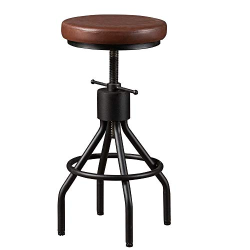 BOKKOLIK Vintage Bar Stool Swivel PU Leather Seat Kitchen Island Workbench Chair Height Adjustable 23-31 inch