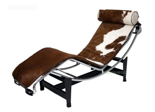 Brown and White Pony LC4 - Le Corbusier Chaise Lounge Chair