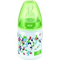 德国NUK宽口PP彩色150ml奶瓶(附1号硅胶中圆孔奶嘴)(图案随机)(适用0-6个月)