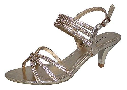 Damen glitzernde Strass, Abendmode, Hochzeit Party Low Schuhe Heel Sandalen Gold