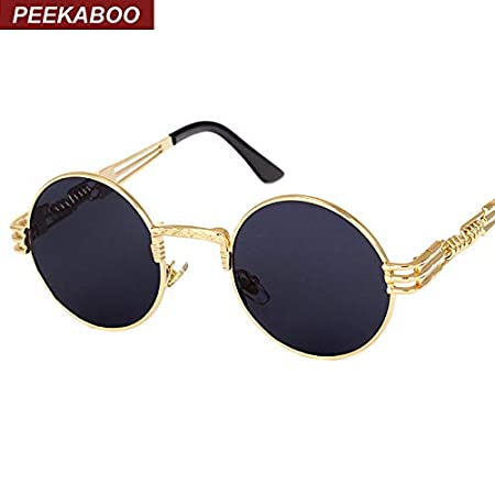 a30a62368 Image Unavailable. Image not available for. Colour: AlyBnd Peekaboo vintage  retro gothic steampunk mirror sunglasses gold and black sun glasses ...
