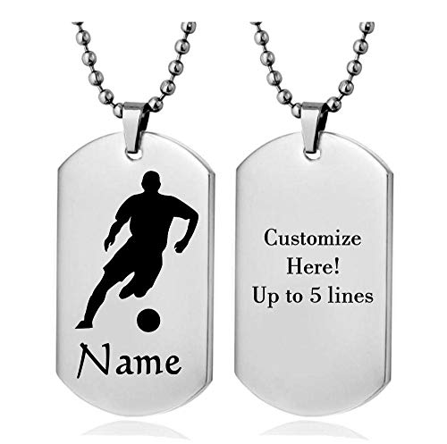 Personalized Sport Silhouette Customize Engrave Message Name Dog tag Necklace Pendant 24 inch Stainless Steel Chain Giftpouch and Keyring (Silver Soccer)