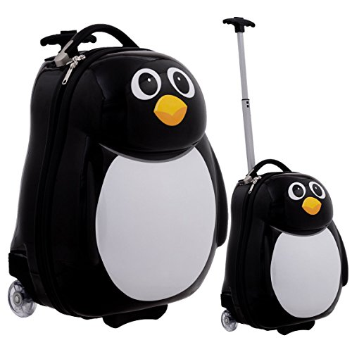 LordBee Nice 2 pcs Penguin Shaped Kids School Luggage Suitcase & Backpack Baby Boy Girl Storage Organizer Wheels 360 Degrees Large