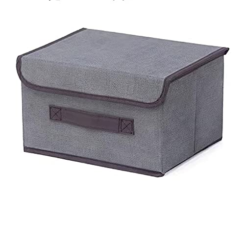 Storage Box with Lid Foldable Linen 14.17*9.05*9.44 inches, grey