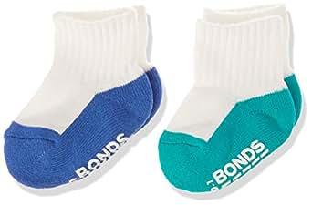 Bonds Baby Logo Quarter Crew Socks (2 Pack), Assorted Boys, 00-1 (0-6 Months)