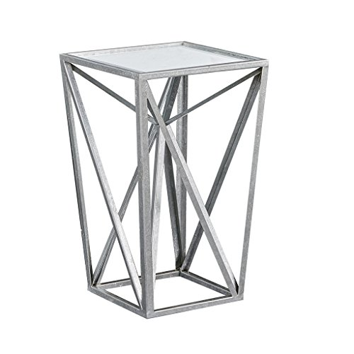 Madison Park MP120-0220 Zee Accent Mirror Glass Top Hollow Small, Metal Side Angular Design, Modern Style End Tables, Silver