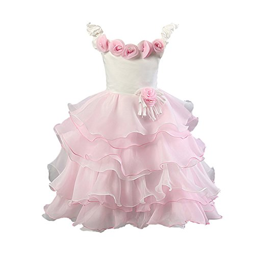 Collager Kid Baby Girl's Tulle Bowknot Sleeveless Party Princess Dress (130(US5-6T), Pink) (H And M Fancy Dress)