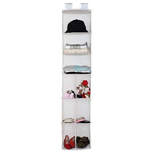 Hanging Closet Organizer - Housen Solutions Storage Shelves, 9-Shelf Collapsible Accessory Hanging Shelves for Clothes & Shoes Organizing, White