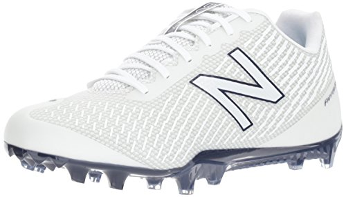 24d0ae3a9090 New Balance Men's BURN Low Speed Lacrosse Shoe, White/Blue, 7.5 2E US