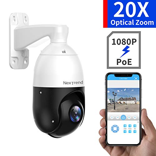 [20X Optical Zoom ]1080P PTZ Camera, NexTrend 4.5Inch PoE+ Security Camera, 300ft Night Vision Outdoor PTZ Security Camera, with Audio Monitoring, Surveillance Camera for Large Area Auto Focus Camera