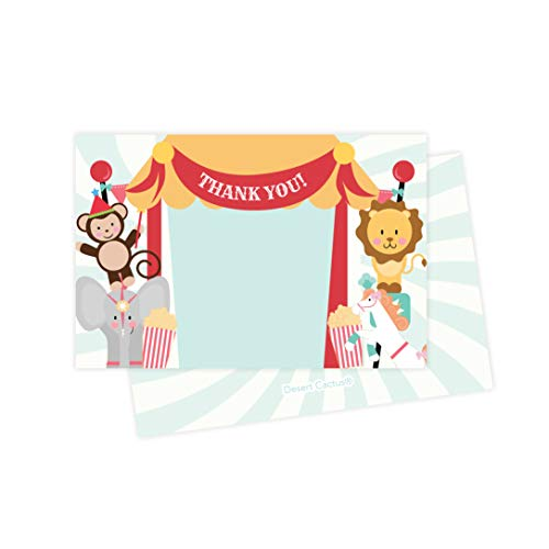 Circus Carnival Thank You Cards (25 Count) With Envelopes & Seal Stickers Bulk Birthday Party Bridal Blank Graduation Kids Children Boy Girl Baby Shower