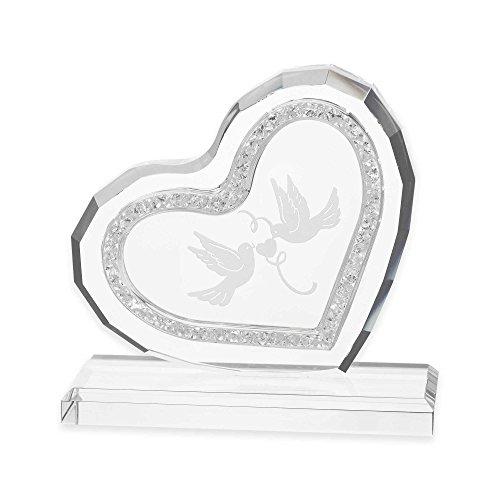 - Wedding Cake Topper by Oleg Cassini Crystal Diamond Heart With Love Birds Elegant Design