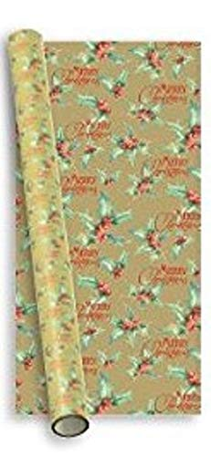 (10m (2 x 5m) Traditional Wrapping Paper - Gold Merry Xmas Holly)