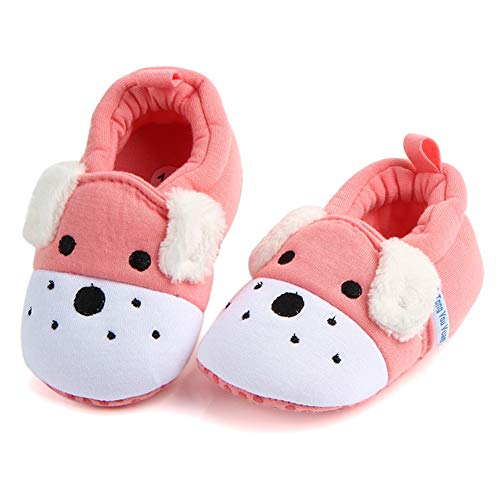 (Sawimlgy US Infant Baby Non Skid Adjustable Slippers Boys Girls Fleece Booties with Grippers Cartoon Moccasins Socks Frist Crib Shoes (M:6-12 Months, C-Pink Dog) )