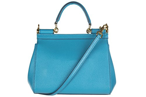 Dolce&Gabbana borsa donna a mano shopping in pelle nuova sicily dauphine blu